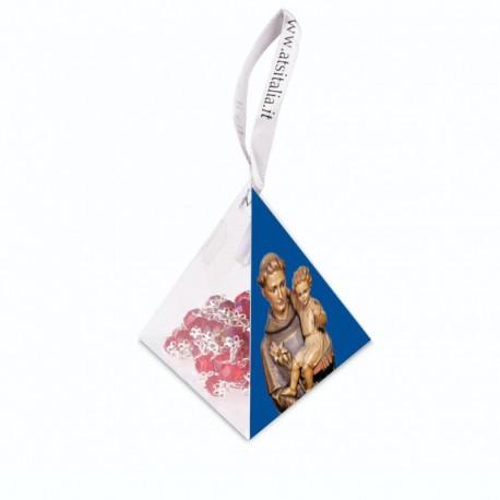 """Piramide in PVC portarosario """"Sant'Antonio"""" con Rosario in cristallo"""