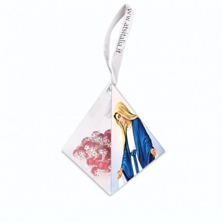 """PVC pyramids """"Miraculous Madonna"""" with crystal Rosary"""