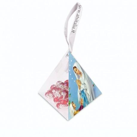 "Piramide in PVC portarosario ""Nostra Signora di Lourdes"" con Rosario in cristallo"