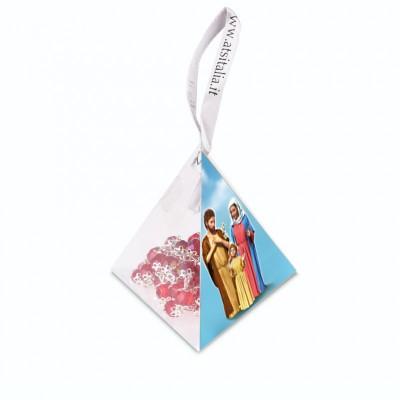 """Piramide in PVC portarosario """"Sacra Famiglia"""" con Rosario in cristallo"""