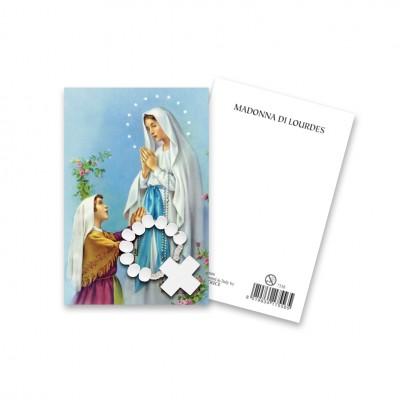 """Immaginetta """"Madonna di Lourdes"""" con decina Rosario in legno"""