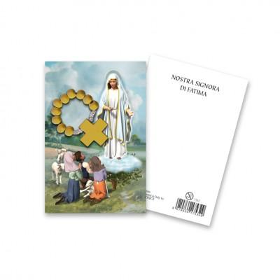 """Immaginetta """"Nostra Signora di Fatima"""" con decina Rosario in legno"""