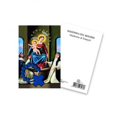 """Immaginetta """"Madonna del Rosario"""" con decina Rosario in legno"""
