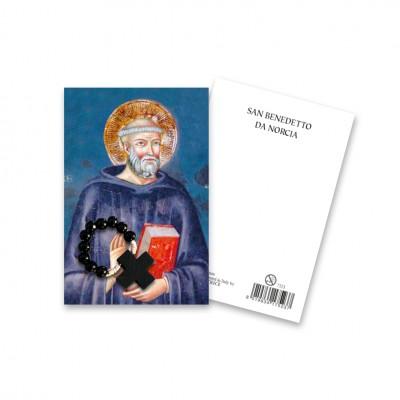 """Immaginetta """"San Benedetto"""" con decina Rosario in legno"""