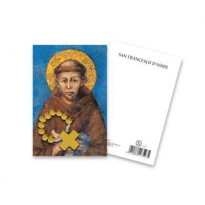 """Immaginetta """"San Francesco d'Assisi"""" con decina Rosario in legno"""
