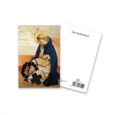 """Immaginetta """"San Domenico"""" con decina Rosario in legno"""