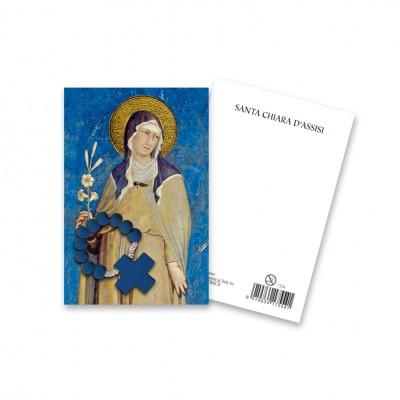 """Immaginetta """"Santa Chiara d'Assisi"""" con decina Rosario in legno"""