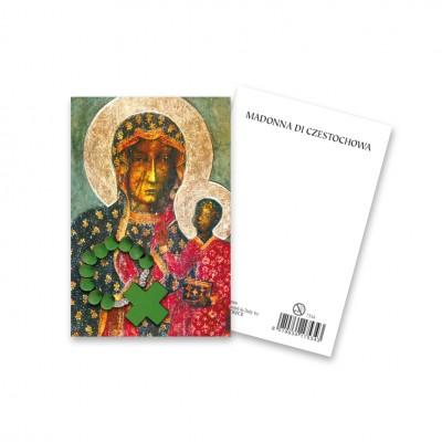 """Immaginetta """"Madonna di Czestochowa"""" con decina Rosario in legno"""