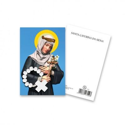 """Immaginetta """"Santa Caterina da Siena"""" con decina Rosario in legno"""