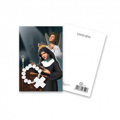"Picture ""Saint Rita"" with wooden decade Rosary"