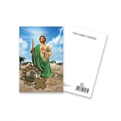 """Immaginetta """"San Giuda"""" con decina Rosario in legno"""