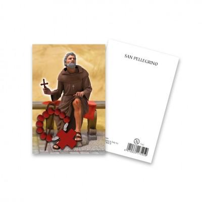"""Immaginetta """"San Pellegrino"""" con decina Rosario in legno"""