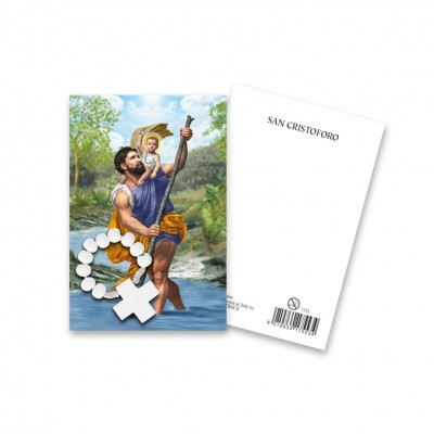 """Immaginetta """"San Cristoforo"""" con decina Rosario in legno"""