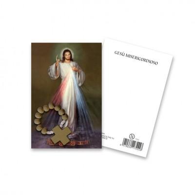 """Immaginetta """"Gesù Misericordioso"""" con decina Rosario in legno"""