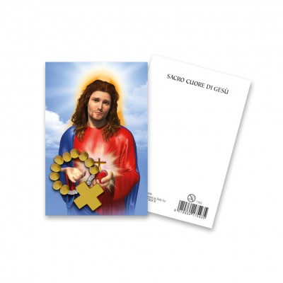 """Picture """"Sacred Heart of Jesus"""" with wooden decade Rosary"""