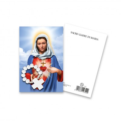 """Immaginetta """"Sacro Cuore di Maria"""" con decina Rosario in legno"""