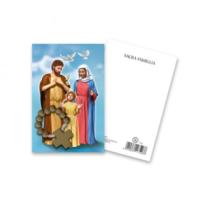 """Immaginetta """"Sacra Famiglia"""" con decina Rosario in legno"""