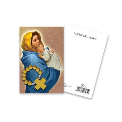 """Immaginetta """"Madonna del Verbo"""" con decina Rosario in legno"""