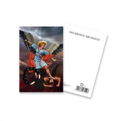 """Immaginetta """"San Michele Arcangelo"""" con decina Rosario in legno"""