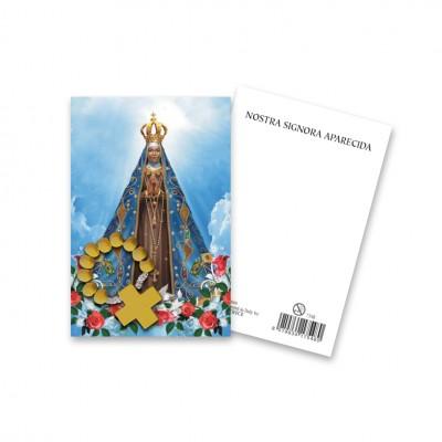 """Immaginetta """"Nostra Signora Aparecida"""" con decina Rosario in legno"""